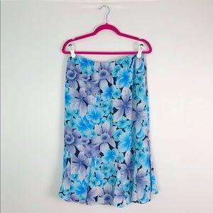 Floral Purple & Turquoise Midi Skirt Tanjay Petites